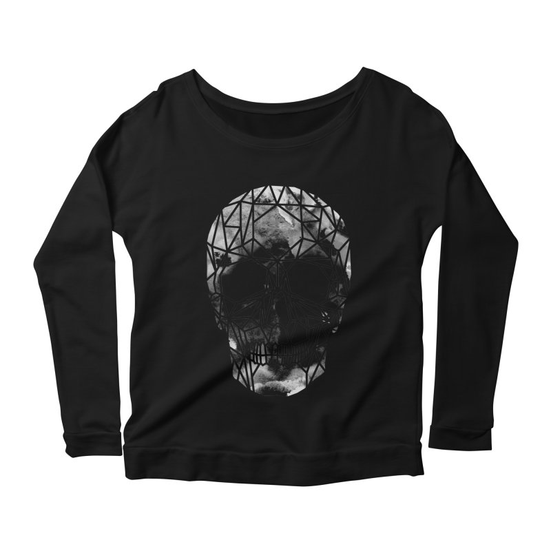 Crystal Skull B+W Infrared Women's Scoop Neck Longsleeve T-Shirt by ANTHROPOLESLEY
