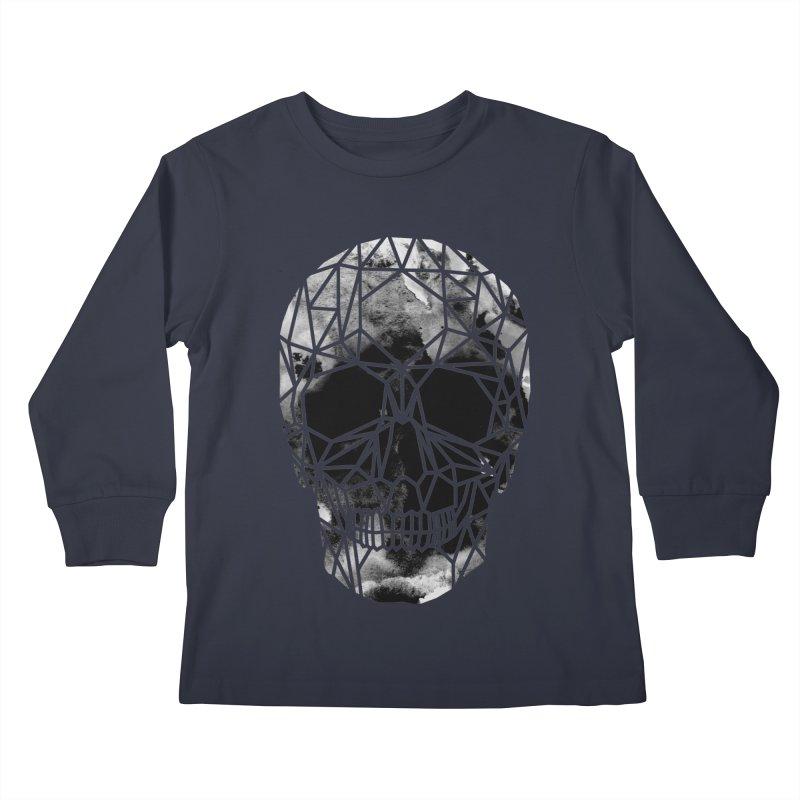 Crystal Skull B+W Infrared Kids Longsleeve T-Shirt by ANTHROPOLESLEY