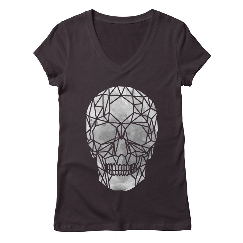Crystal Skull B+W Chrome Women's Regular V-Neck by ANTHROPOLESLEY