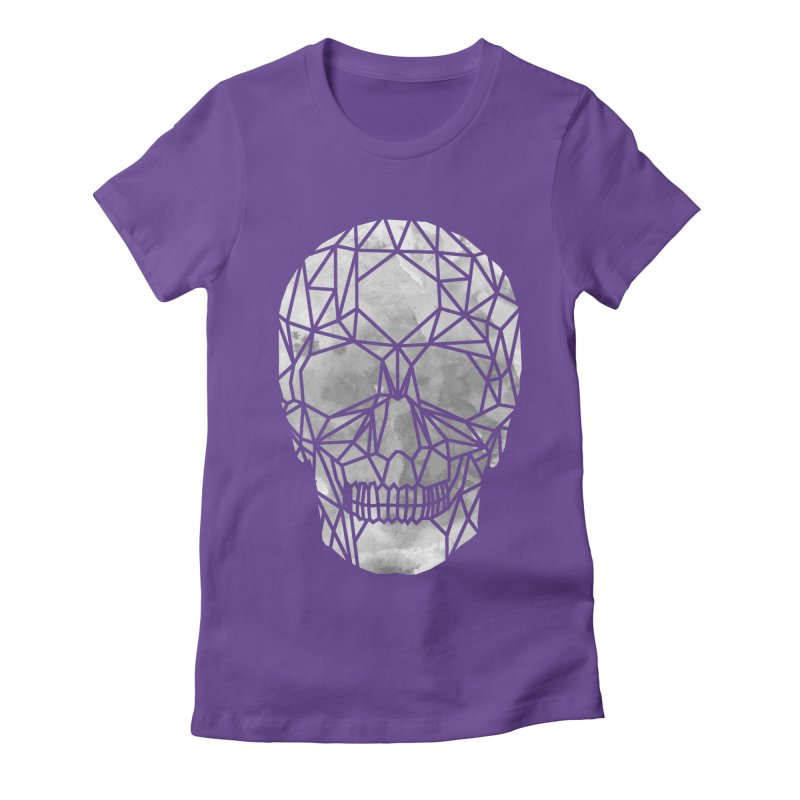 Crystal Skull B+W Chrome Women's Fitted T-Shirt by ANTHROPOLESLEY