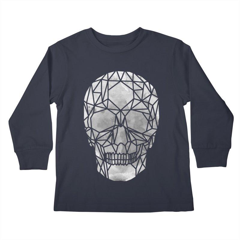 Crystal Skull B+W Chrome Kids Longsleeve T-Shirt by ANTHROPOLESLEY