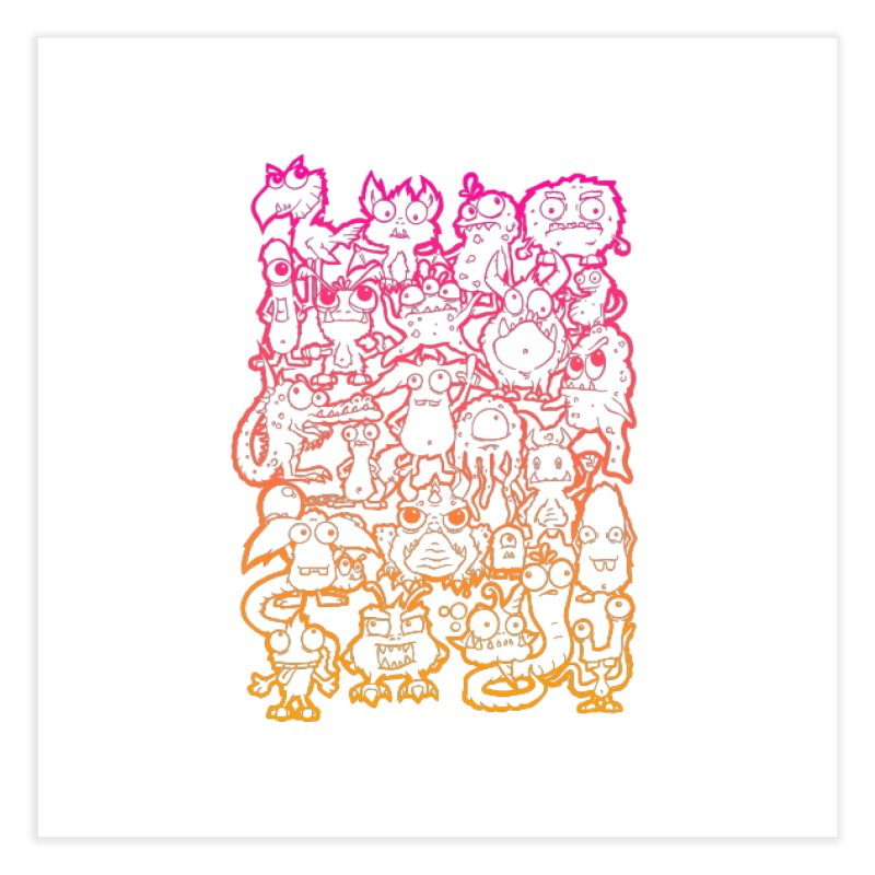 Monster Party - The Great Meeting  Orange/Pink Home Fine Art Print by ARTinfusion - Get your's now!
