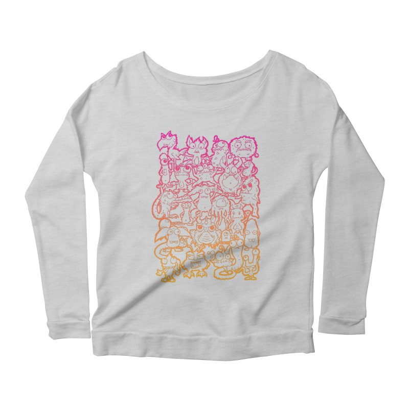 Monster Party - The Great Meeting  Orange/Pink Women's Longsleeve T-Shirt by ARTinfusion - Get your's now!