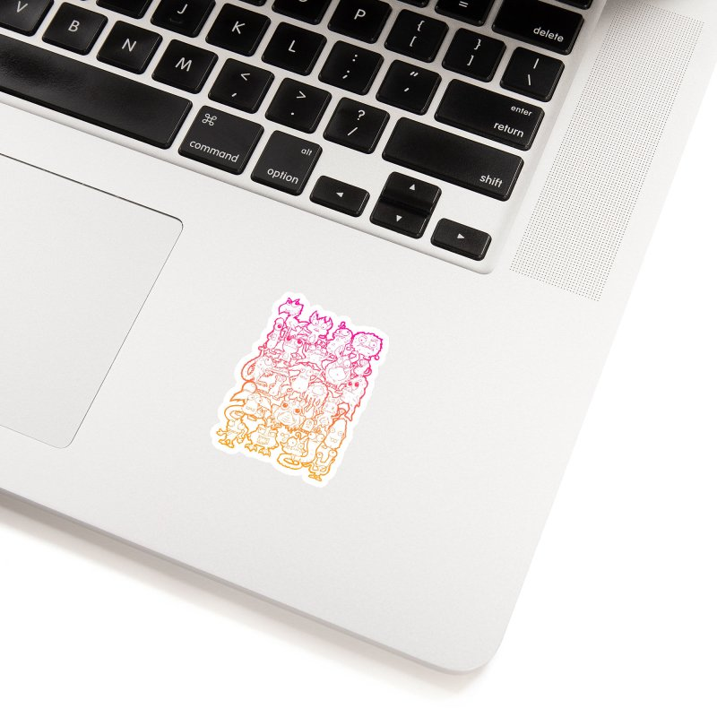 Monster Party - The Great Meeting  Orange/Pink Accessories Sticker by ARTinfusion - Get your's now!