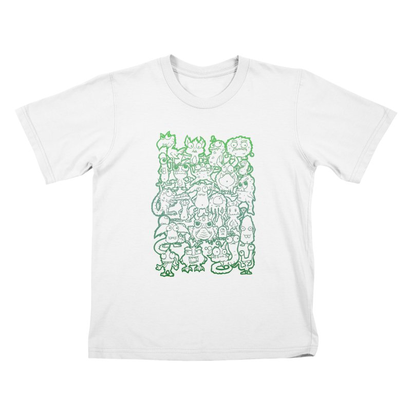 Monster Party - The Great Meeting! Green Edition Kids T-Shirt by ARTinfusion - Get your's now!