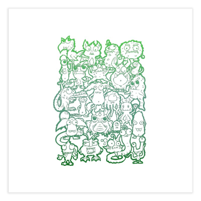 Monster Party - The Great Meeting! Green Edition Home Fine Art Print by ARTinfusion - Get your's now!