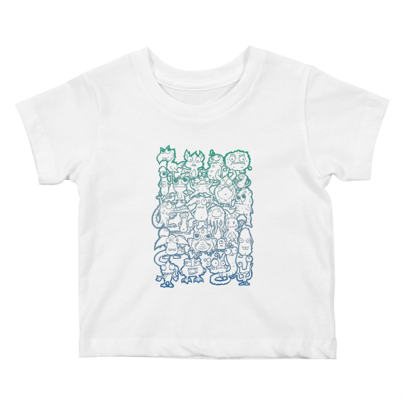 Monster Party - The Great Meeting! Blue Edition Kids Baby T-Shirt by ARTinfusion - Get your's now!