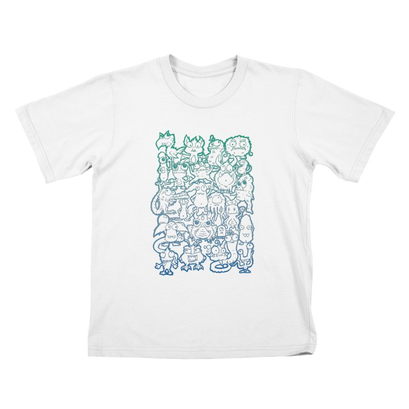 Monster Party - The Great Meeting! Blue Edition Kids T-Shirt by ARTinfusion - Get your's now!