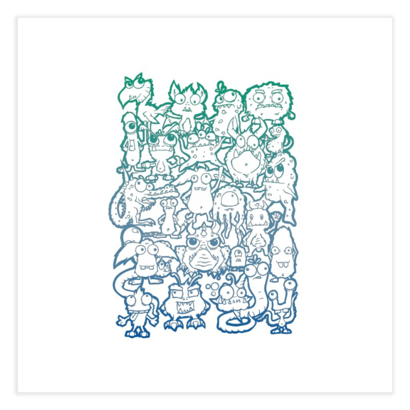 Monster Party - The Great Meeting! Blue Edition Home Fine Art Print by ARTinfusion - Get your's now!