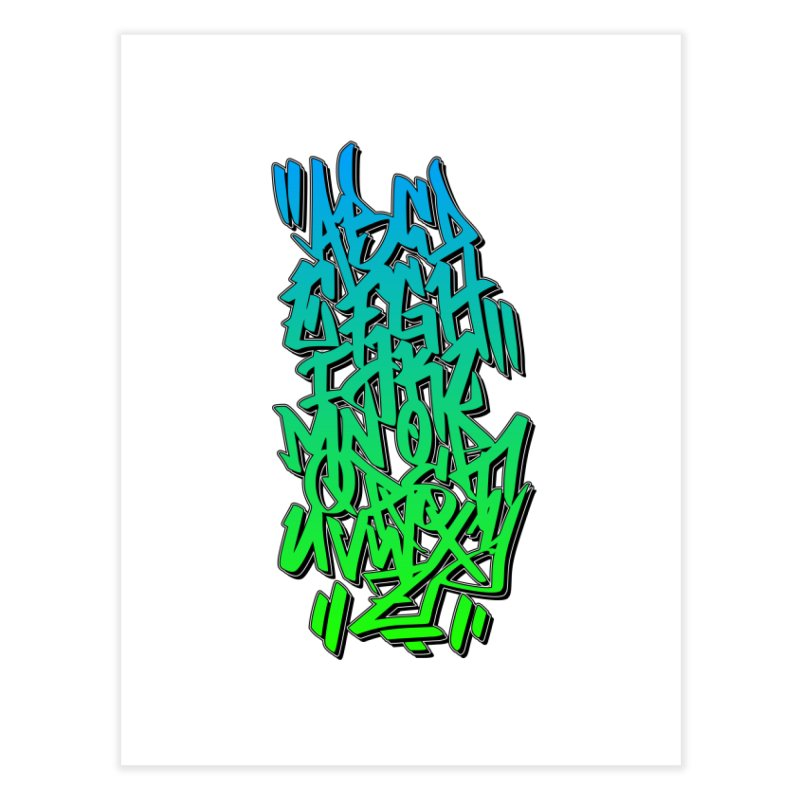 Graffiti Tag ABC - Green Edition Home Fine Art Print by ARTinfusion - Get your's now!