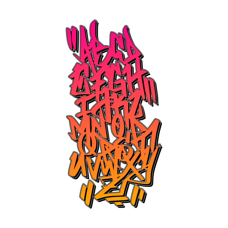 Graffiti Tag ABC - Pink/Orange Edition Women's Zip-Up Hoody by ARTinfusion - Get your's now!