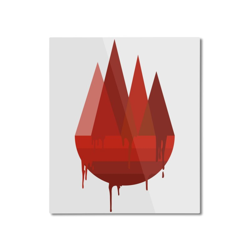 Dying Earth - The last drop - red variant Home Mounted Aluminum Print by ARTinfusion - Get your's now!