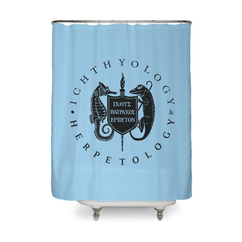 Ichthyology & Herpetology Black Logo Home Goods Shower Curtain by Amer. Society of Ichthyologists & Herpetologists