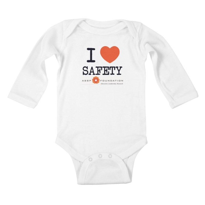 I Heart Safety Products in Kids Baby Longsleeve Bodysuit White by ASSP Foundation