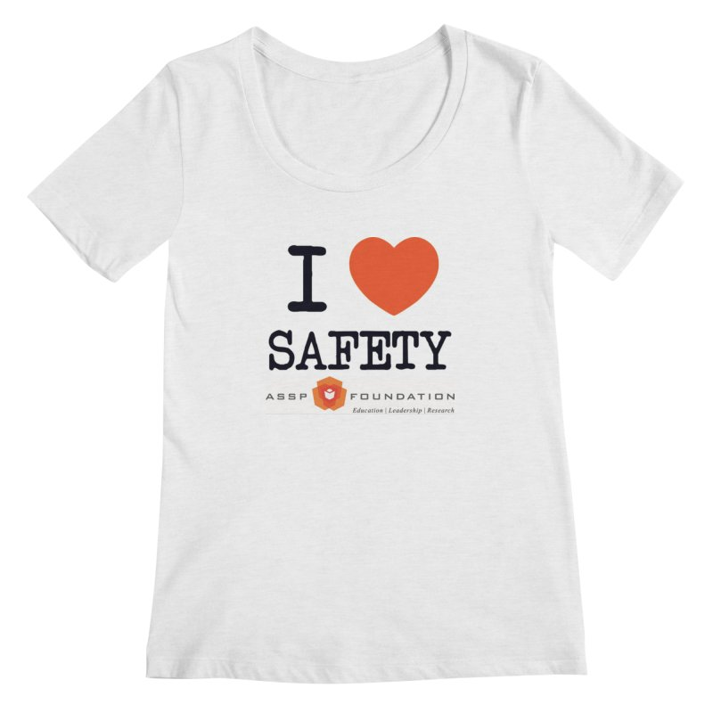 I Heart Safety Products in Women's Regular Scoop Neck White Fleck Triblend by ASSP Foundation