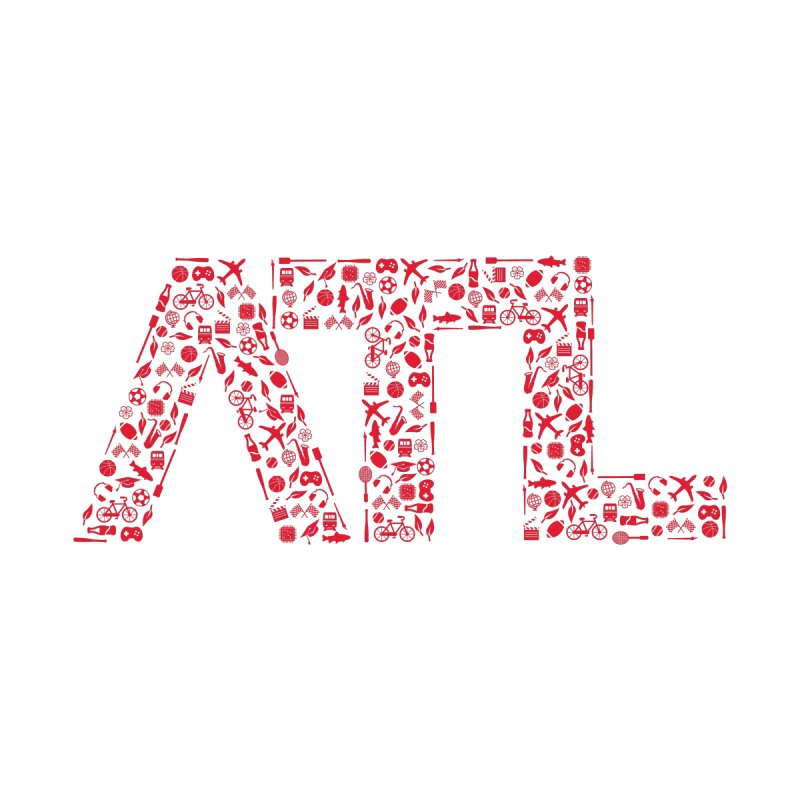 Red ATL Icon Logo Men's T-Shirt by ATLBrandBox's Artist Shop