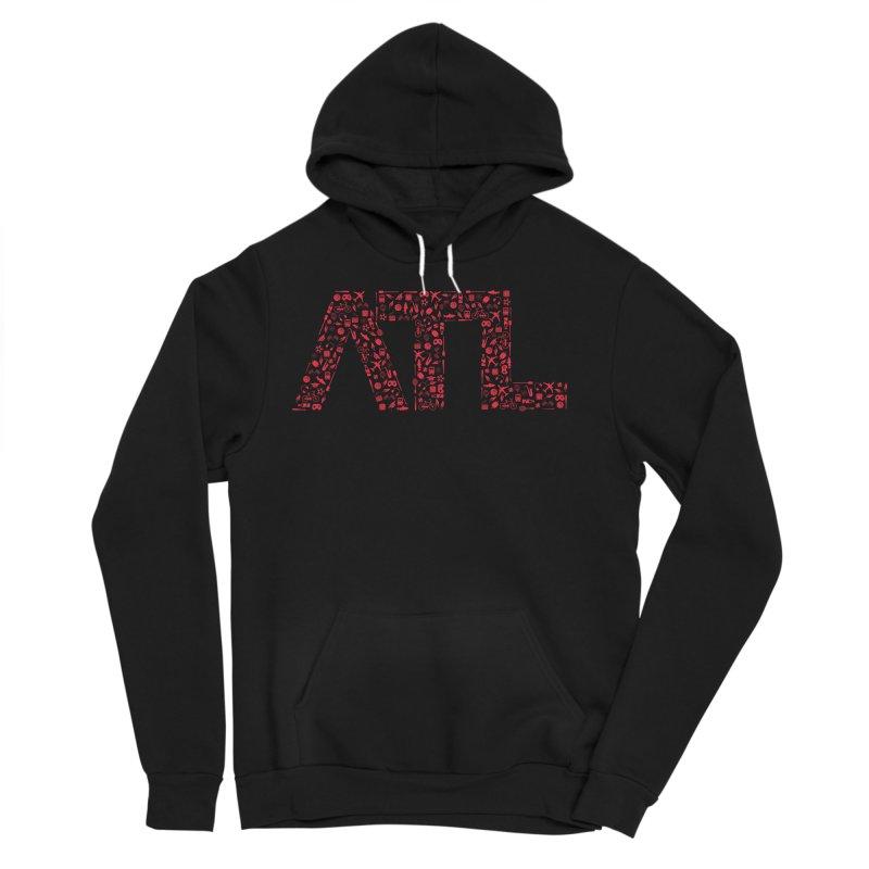 Red ATL Icon Logo Men's Sponge Fleece Pullover Hoody by ATLBrandBox's Artist Shop