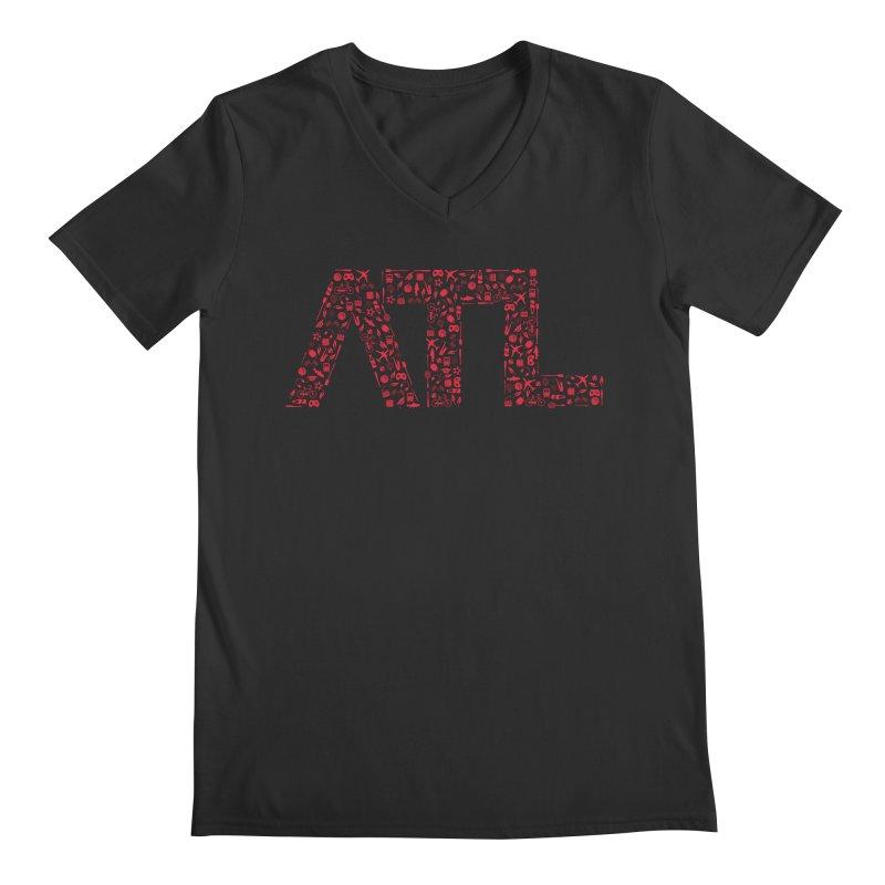Red ATL Icon Logo Men's Regular V-Neck by ATLBrandBox's Artist Shop