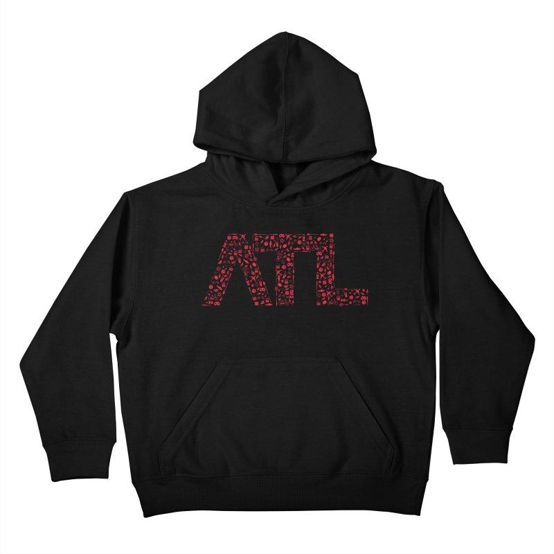 Red ATL Icon Logo Kids Pullover Hoody by ATLBrandBox's Artist Shop