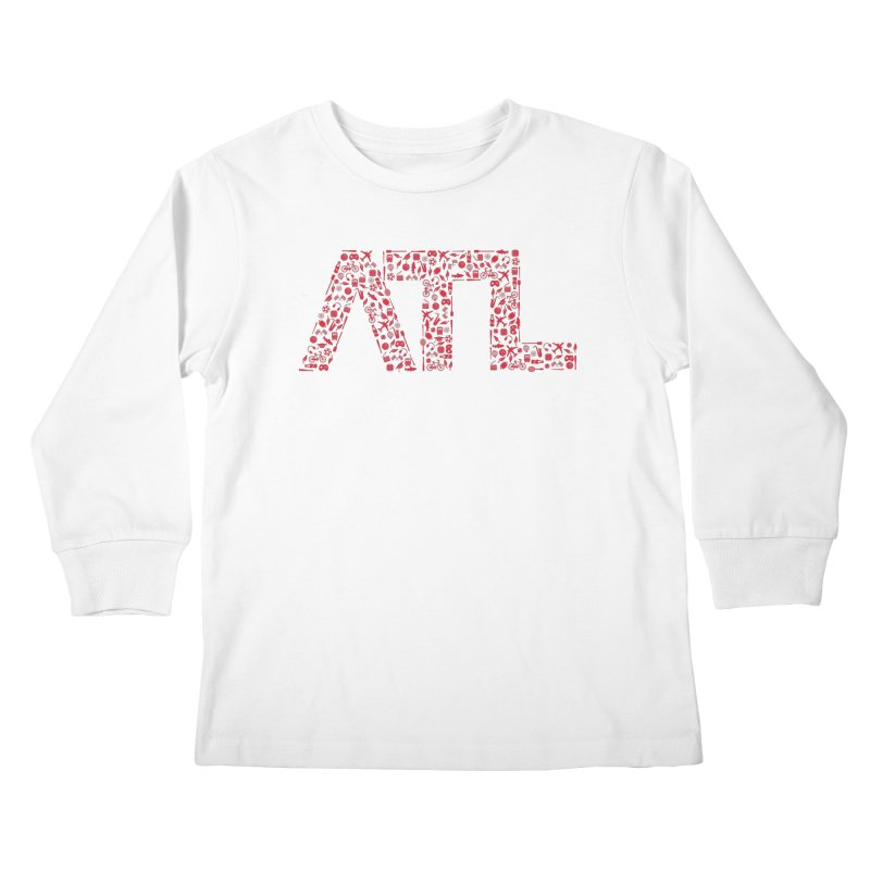 Red ATL Icon Logo Kids Longsleeve T-Shirt by ATLBrandBox's Artist Shop