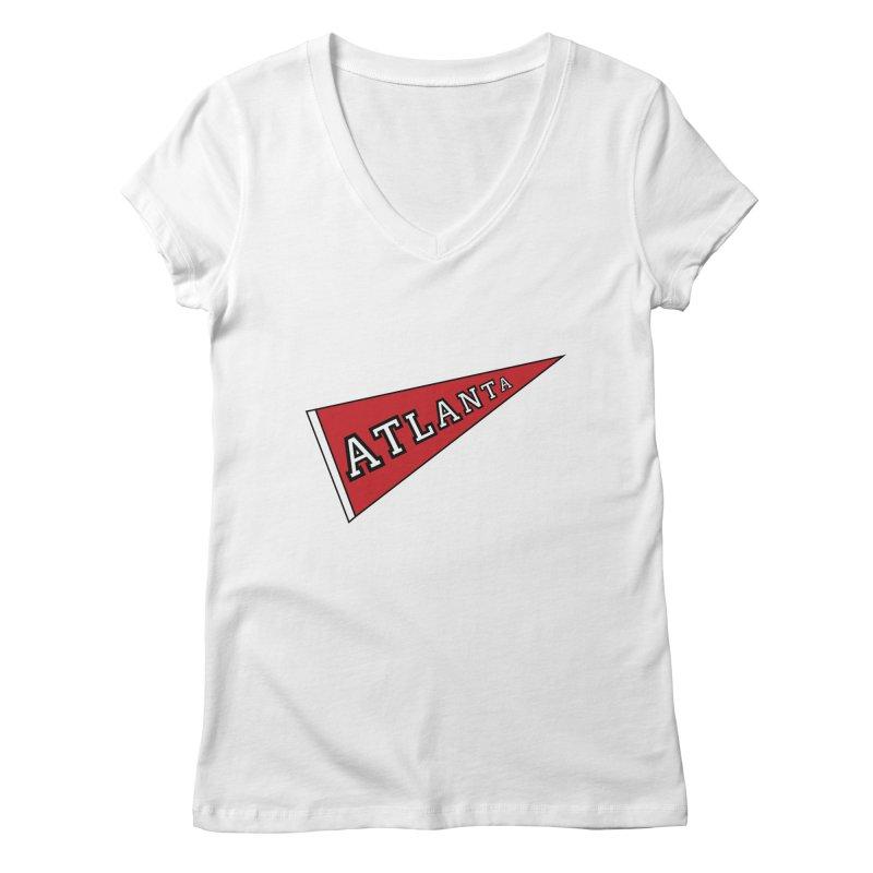 Atlanta Pennant Women's Regular V-Neck by ATLBrandBox's Artist Shop