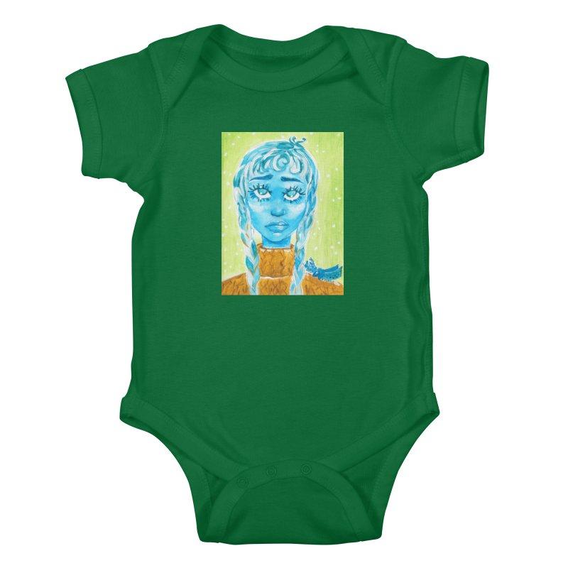 Blue Girl Kids Baby Bodysuit by AcrylicArtisan's Artist Shop
