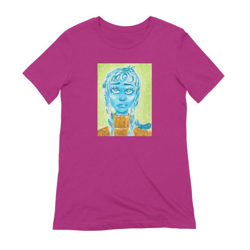 Blue Girl Women's T-Shirt by AcrylicArtisan's Artist Shop