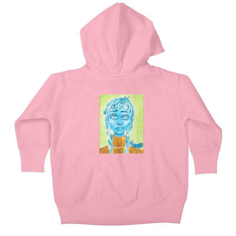 Blue Girl Kids Baby Zip-Up Hoody by AcrylicArtisan's Artist Shop
