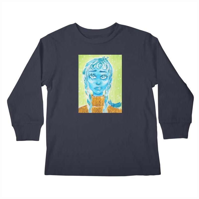 Blue Girl Kids Longsleeve T-Shirt by AcrylicArtisan's Artist Shop