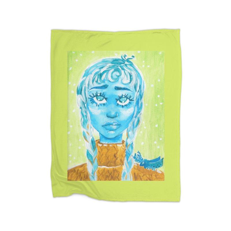 Blue Girl Home Blanket by AcrylicArtisan's Artist Shop