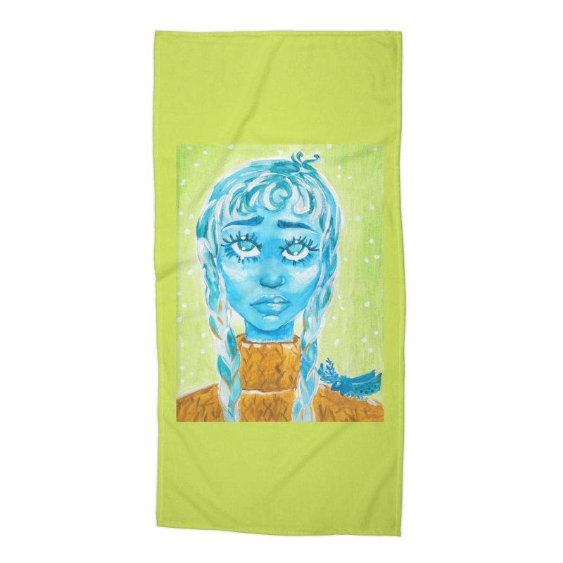 Blue Girl Accessories Beach Towel by AcrylicArtisan's Artist Shop