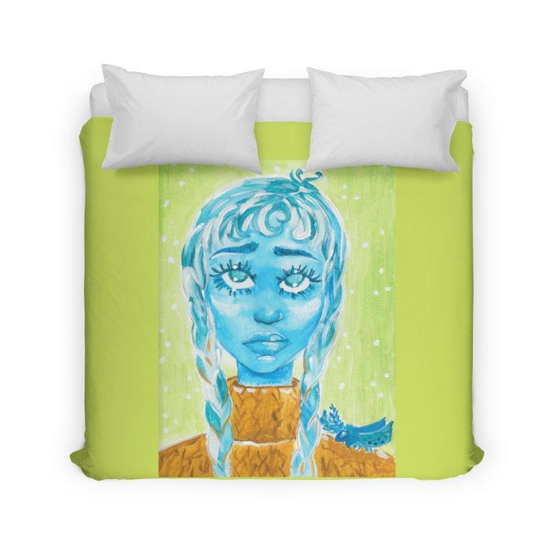 Blue Girl Home Duvet by AcrylicArtisan's Artist Shop