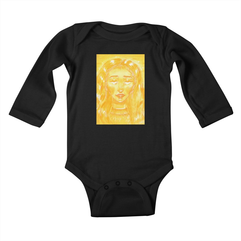 Orange Girl Kids Baby Longsleeve Bodysuit by AcrylicArtisan's Artist Shop