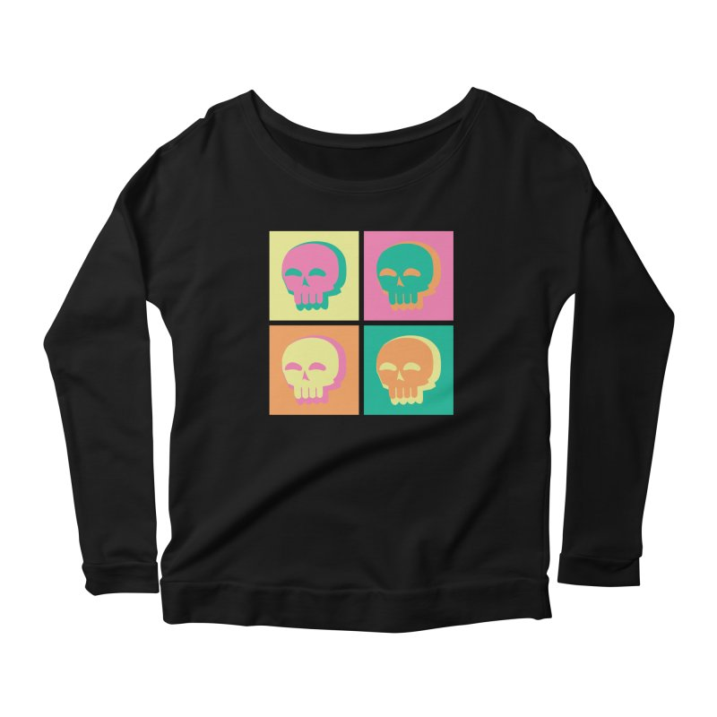 Pop Art Skulls Women's Scoop Neck Longsleeve T-Shirt by Viable Psyche