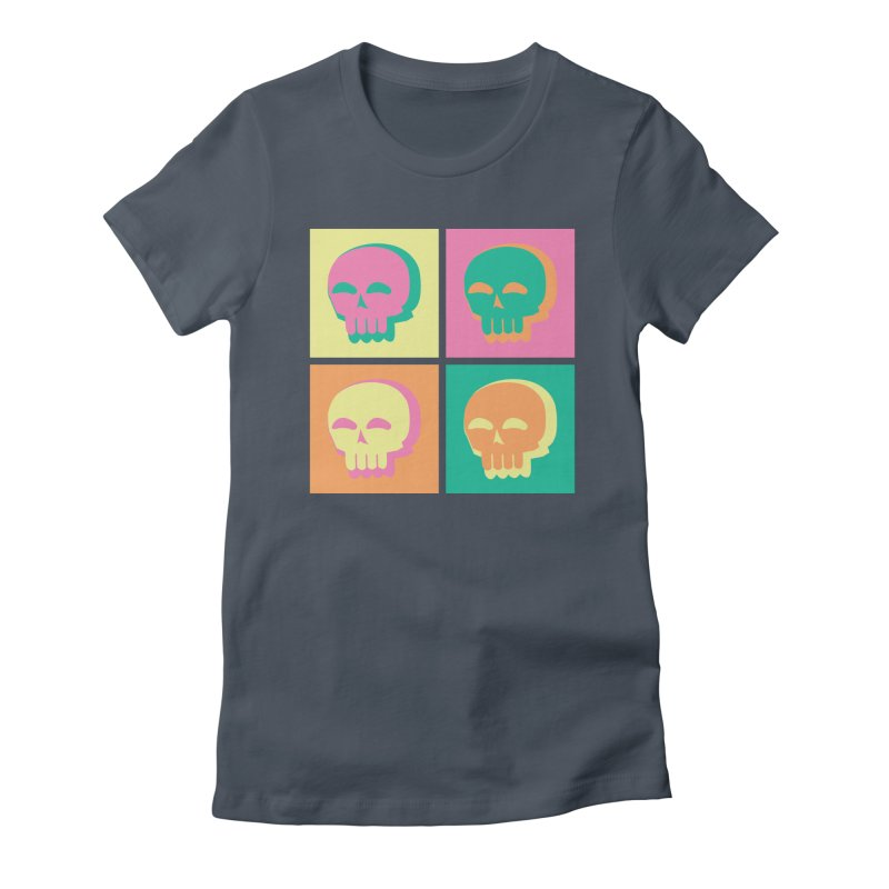 Pop Art Skulls Women's Fitted T-Shirt by Viable Psyche