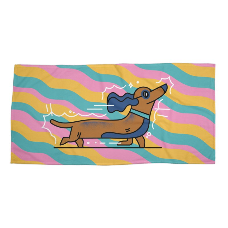 Hot Dog Accessories Beach Towel by Adamkoon's Artist Shop