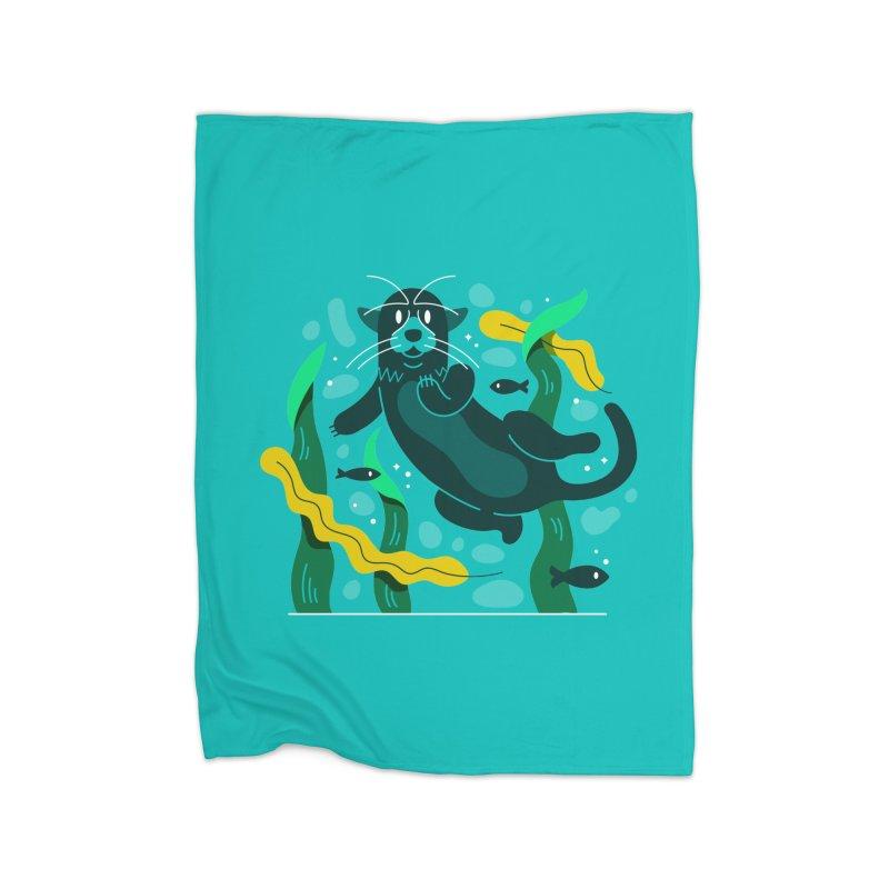Otter Home Fleece Blanket Blanket by Adamkoon's Artist Shop