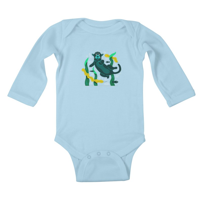 Otter Kids Baby Longsleeve Bodysuit by Adamkoon's Artist Shop