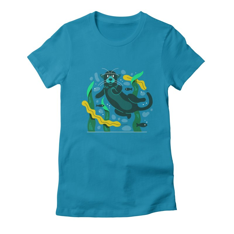Otter Women's Fitted T-Shirt by Adamkoon's Artist Shop