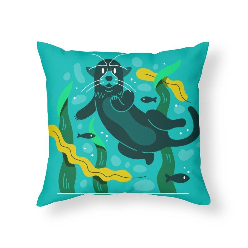 Otter Home Throw Pillow by Adamkoon's Artist Shop