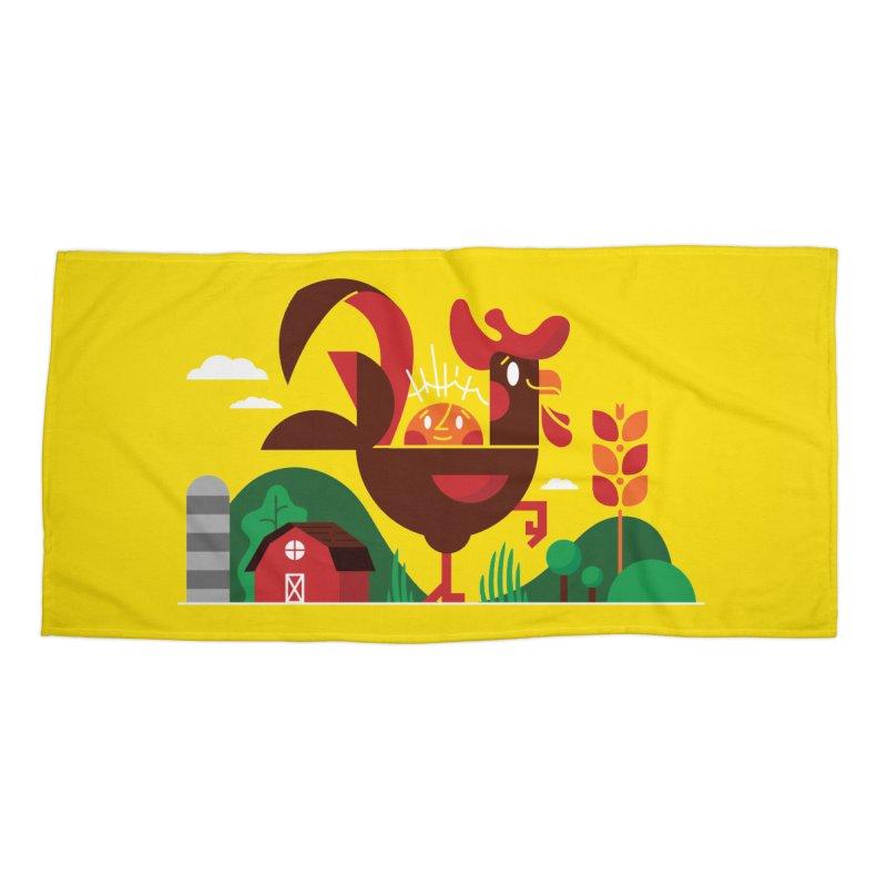 Farm Chicken Accessories Beach Towel by Adamkoon's Artist Shop