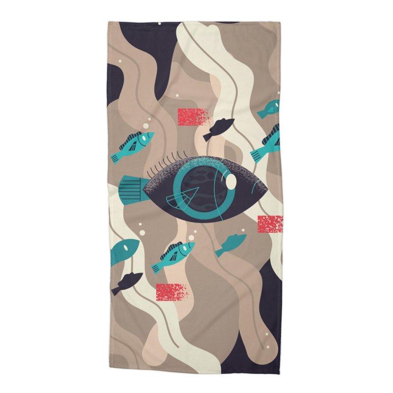 Fish Eye Accessories Beach Towel by Adamkoon's Artist Shop