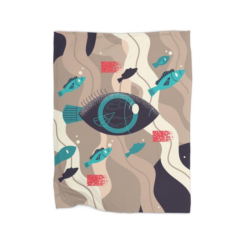 Fish Eye Home Fleece Blanket Blanket by Adamkoon's Artist Shop
