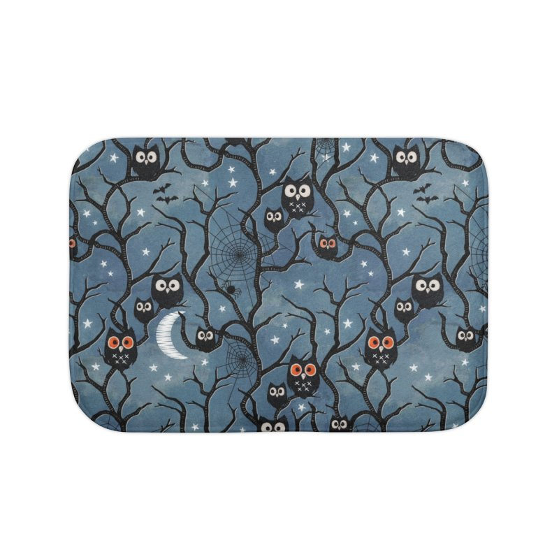 Spooky woods owls Home Bath Mat by AdenaJ