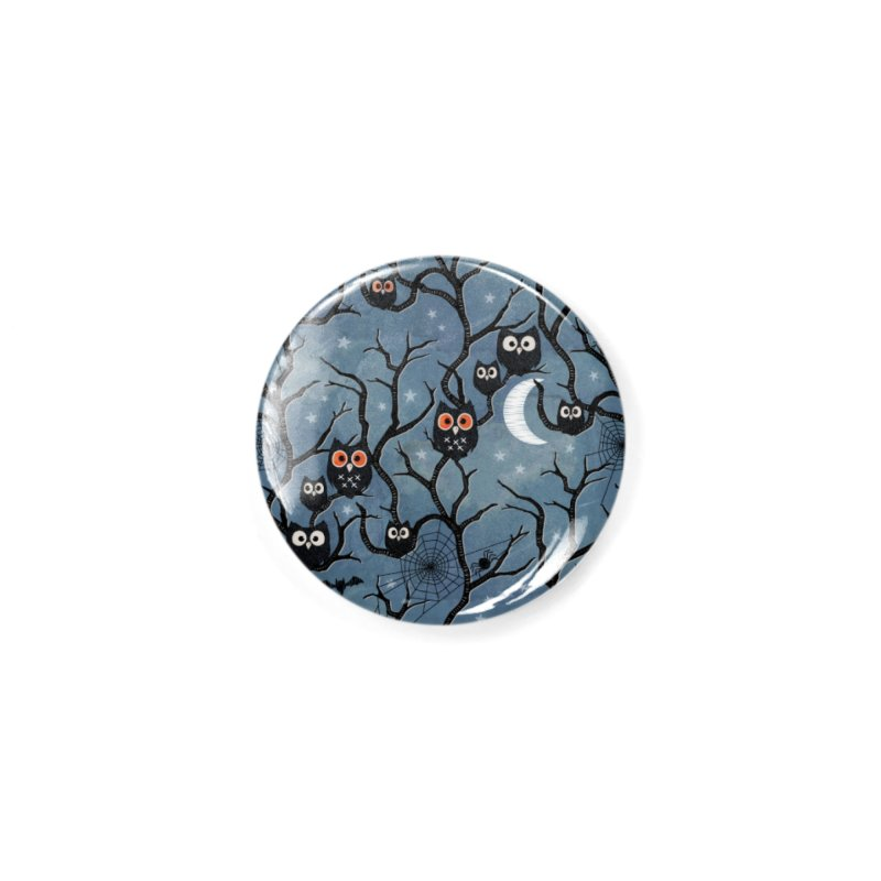Spooky woods owls Accessories Button by AdenaJ