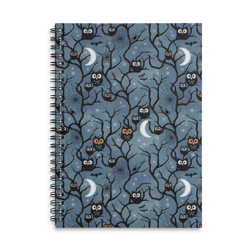 Spooky woods owls Accessories Lined Spiral Notebook by AdenaJ