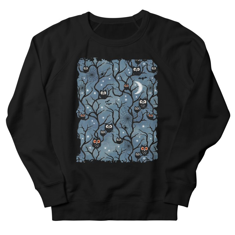 Spooky woods owls Men's French Terry Sweatshirt by AdenaJ
