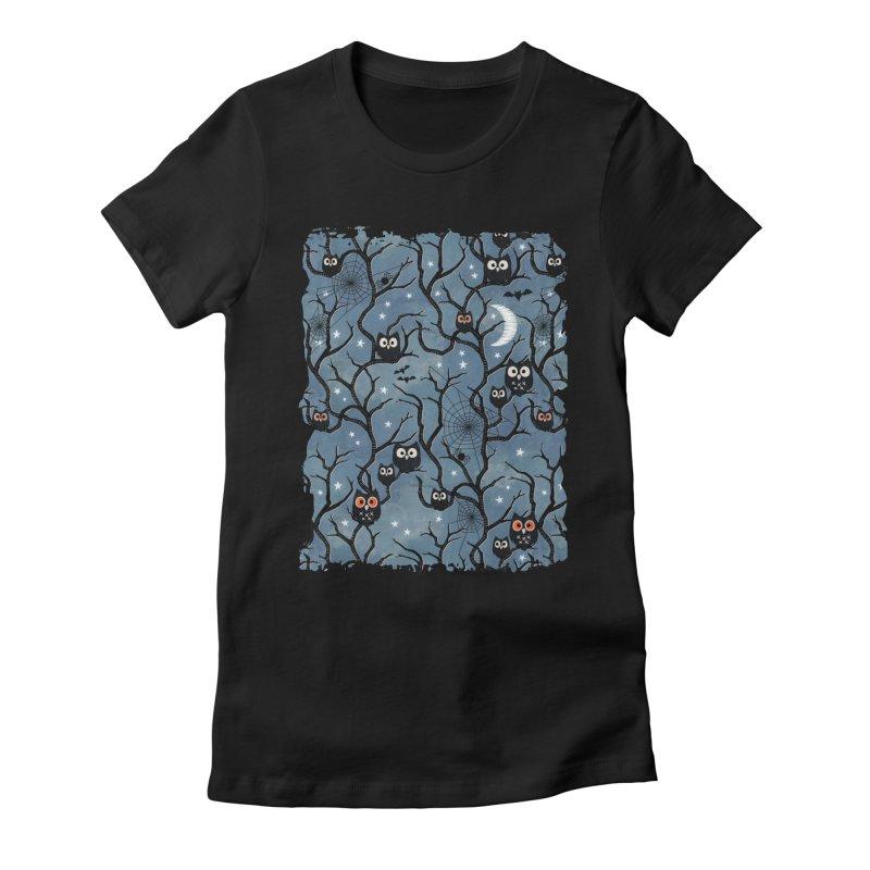 Spooky woods owls Women's Fitted T-Shirt by AdenaJ