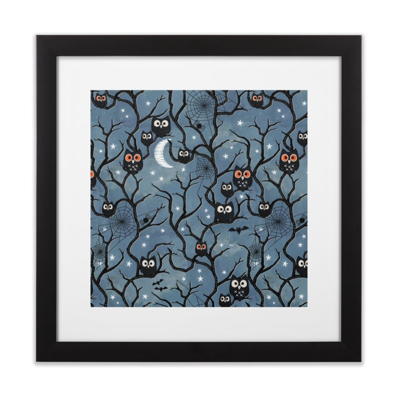 Spooky woods owls Home Framed Fine Art Print by AdenaJ