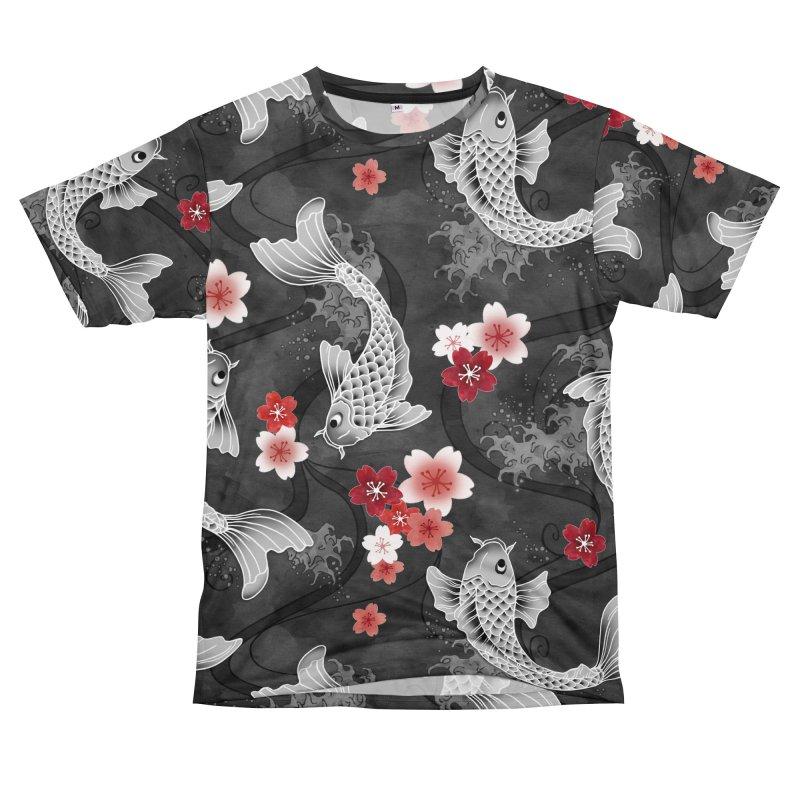 Koi sakura blossom in black Women's Cut & Sew by AdenaJ